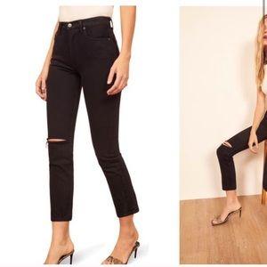 Reformation Julia high Cigarette Jeans Black 25